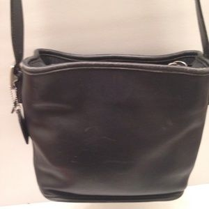 COACH vintage black leather crossbody bag